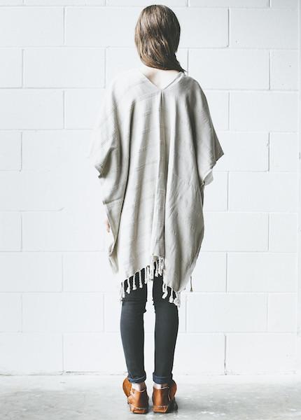 Plaj Texada Stone Washed Kimono in Light Grey