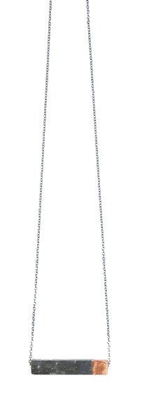 Maple + Mauve Copper Leaf Rectangle Necklace