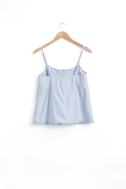 The Sleep Shirt Pink Tuck Camisole Blue Oxford Stripe