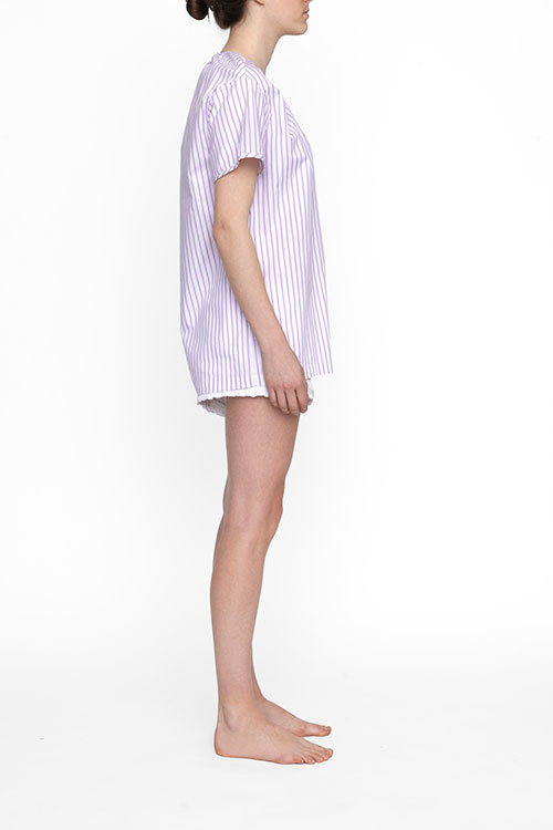 The Sleep Shirt Short Sleeve Nightshirt Raspberry Stripe