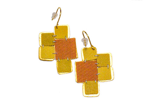 Dos Riberas Retro SQUARE Matte Gold Earrings