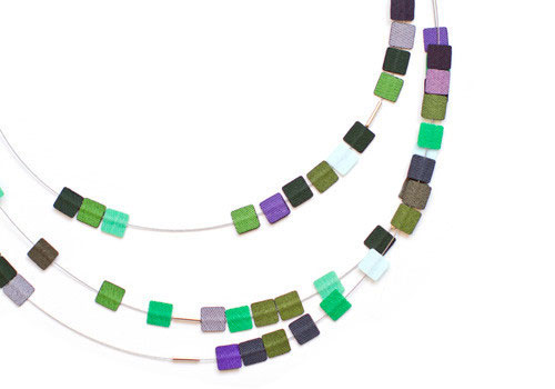 Dos Riberas LUDO Triple Loops Long Necklace - Moss