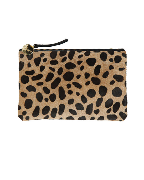 Clare V. Leopard Hair Flat Wallet Clutch