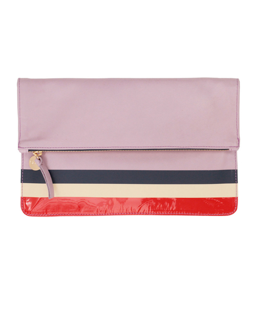 Clare V. Margot Foldover Clutch in Lavender Leather with Sailboat Stripes