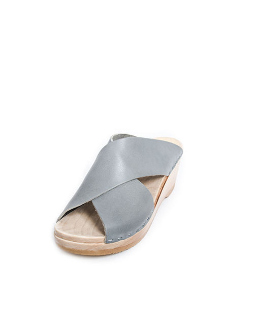 No. 6 Frida Mid Wedge Sandals in Steel