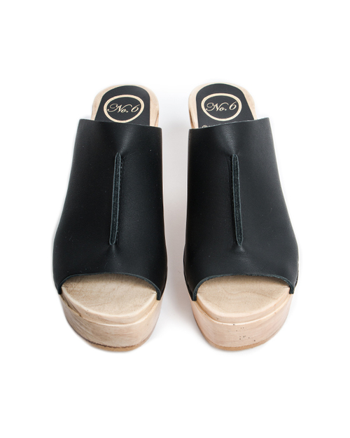 No. 6 Front Seam Platform Slide in Black