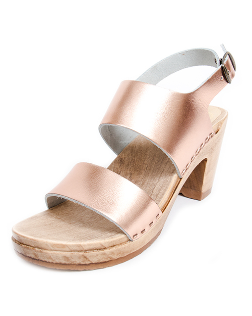 No. 6 Harper High Heel Sandals in Rose Gold
