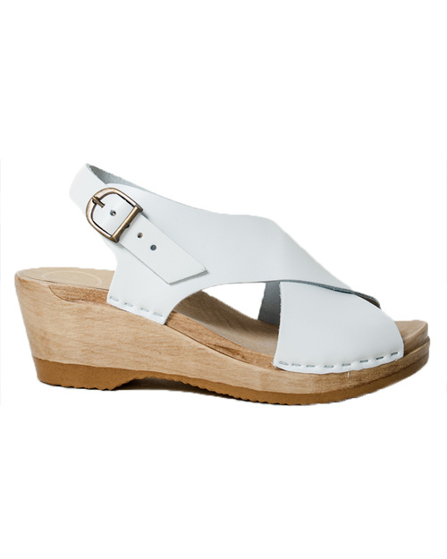 No. 6 Crossover Wedge Sandals in White