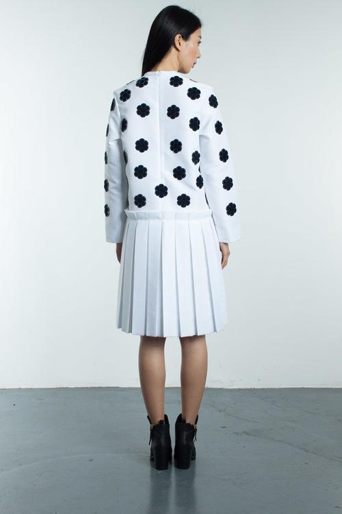 Steven Tai Fuzzy Embroidery Satin Dress