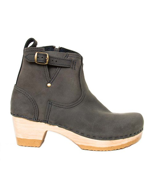 No. 6 Leather Buckle Mid Heel Boot in Storm