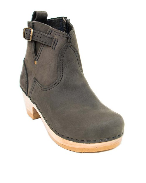 no 6 leather buckle mid heel boot in garmentory