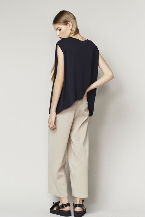 ACHRO LINEN MIXED KNIT TOP WITH FOLDED SIDES - NAVY