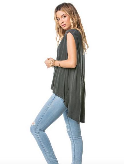 AMUSE SOCIETY Joli Knit Muscle Tank - Charcoal