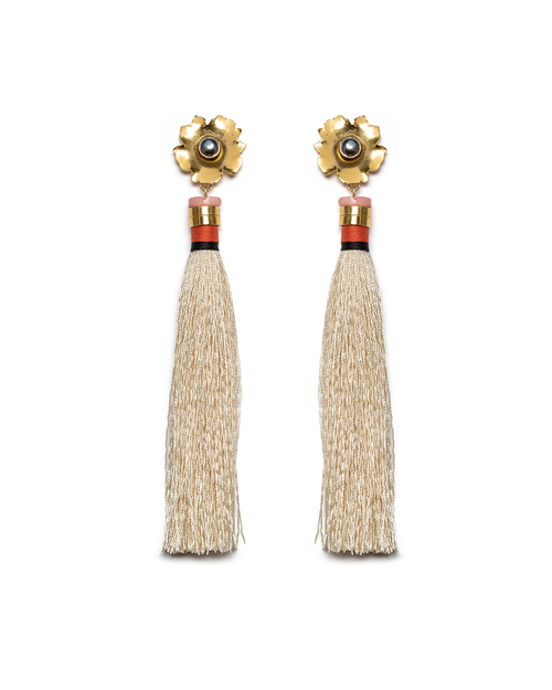 Lizzie Fortunato Tahitian Tassel Earrings in Cream