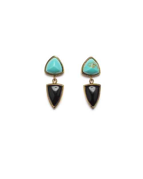 Lizzie Fortunato Graphic Shield Earrings in Aqua