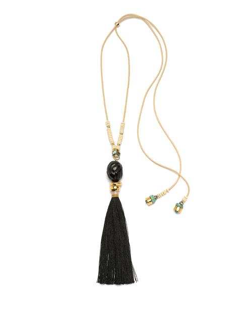 Lizzie Fortunato Agate Tassel Necklace in Black