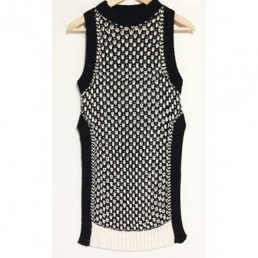 Pari Desai fabiane open stitch tank Black/White