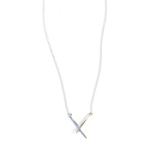 K/LLER Collection Crossed Twist Spike Necklace