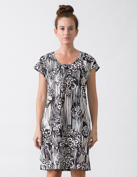 SBJ Austin Coco Dress in Black & White Swirl