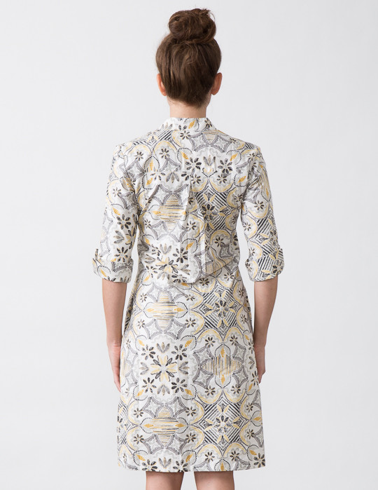 SBJ Austin Ellen Dress in Yellow/Grey Print
