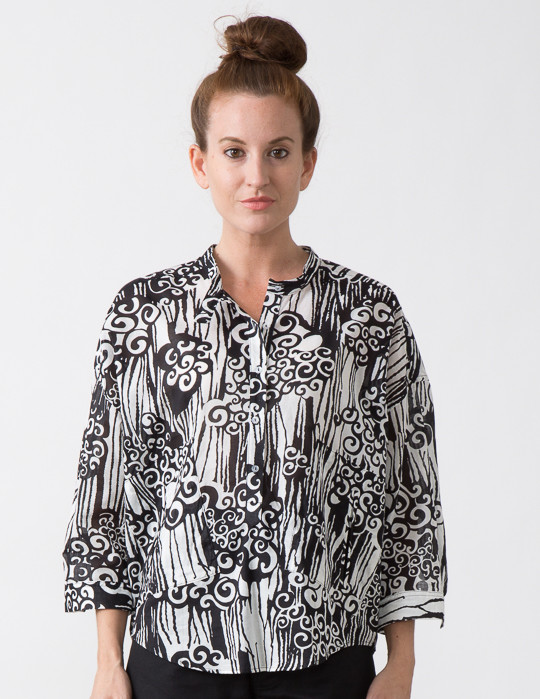SBJ Austin Isabel Top in Black/White Swirl