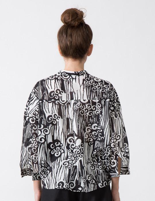 SBJ Austin Isabel Top in Black/White Swirl