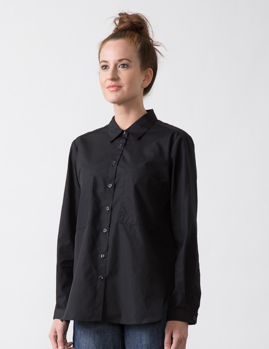 SBJ Austin Jane Top in Black Italian Poplin