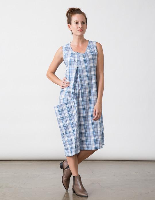 SBJ Austin Olivia Dress in Blue Plaid