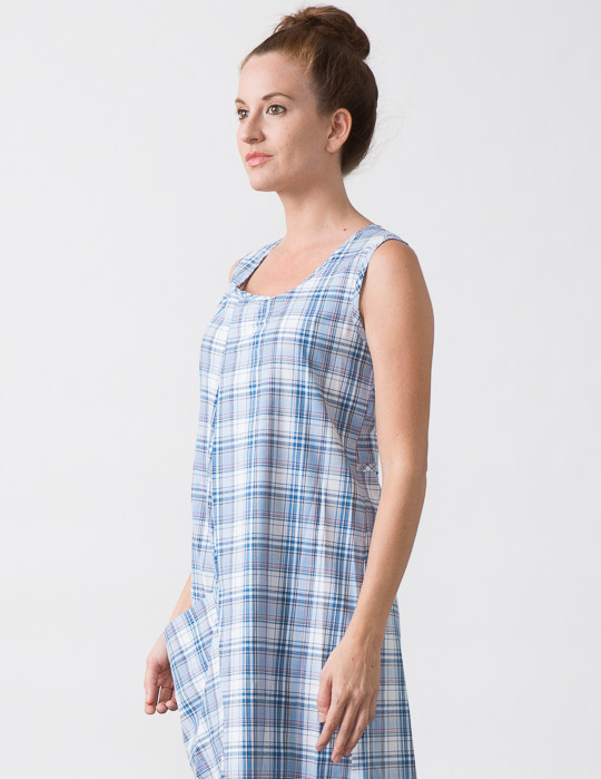 SBJ Austin Olivia Dress in Blue Plaid