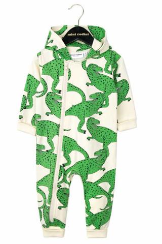 Green T Rex-Print Zip Up Hooded Onesie