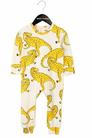 Mini Rodini Yellow T Rex-Print Long Legged Onesie