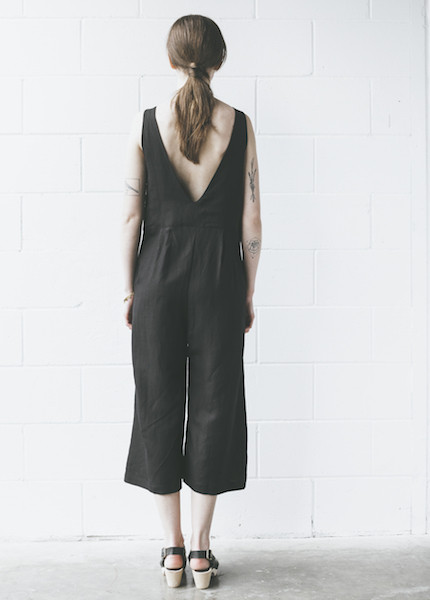 First Rite Crop Pantsuit in Black