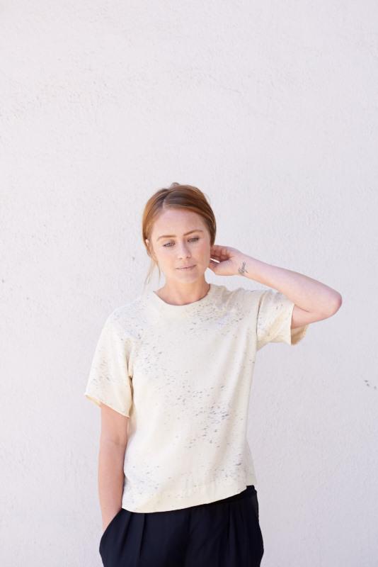Kamperett Stratus Silk Raglan Shirt in Hand Painted Refraction Print