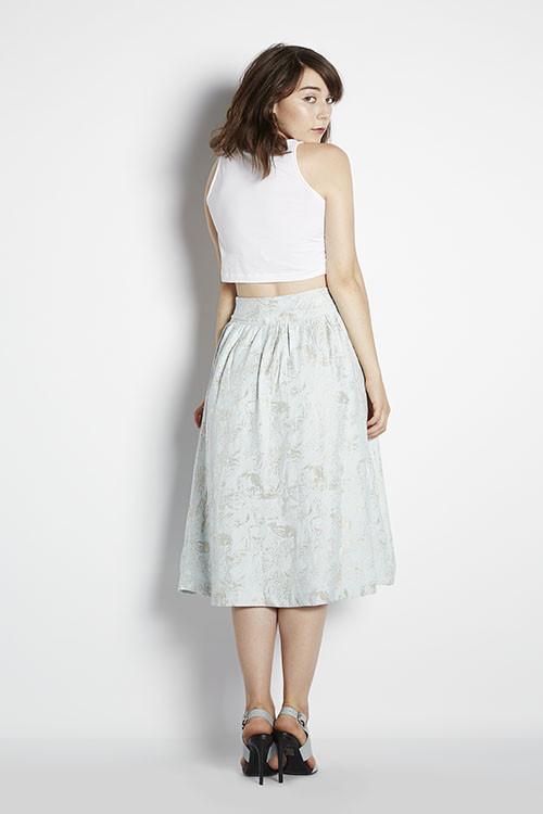 J.O.A. Floral Jacquard Skirt