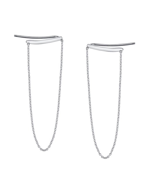 Gabriela Artigas Draping Chain Staple Earrings in 14K White Gold