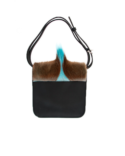 Brother Vellies Springbok and Leather Palma Bag in Black and Blue
