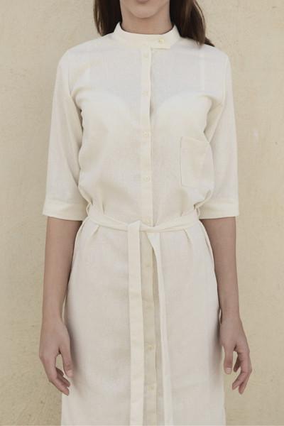 Signe Raw Silk Shirt Dress
