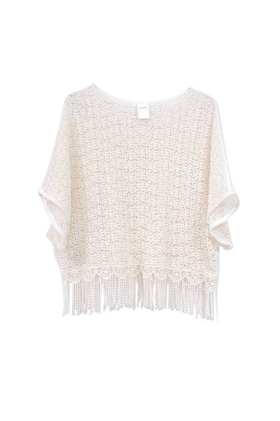 The Korner Crochet Sheer Top with Fringe
