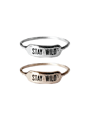 Red wolf Stay Wild Ring