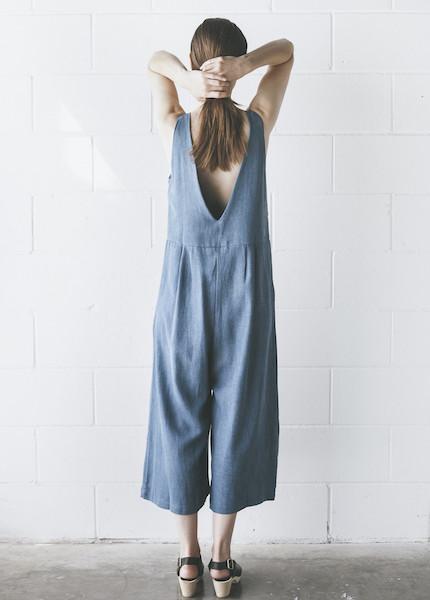First Rite - Crop Pantsuit in Denim
