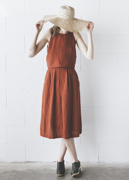 First Rite - Pleated Skirt in Rust