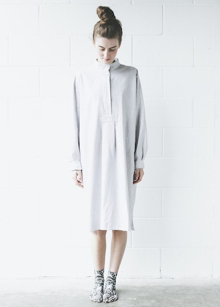 The Sleep Shirt Long Sleep Shirt in Black Oxford Stripe