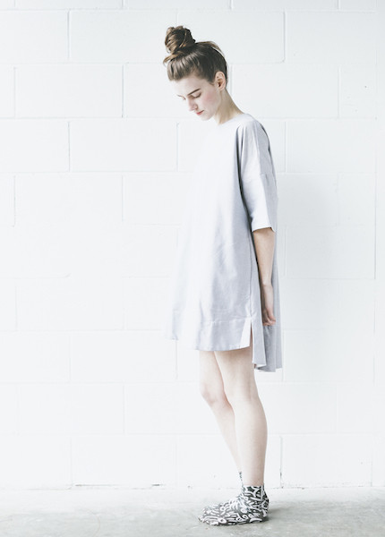 The Sleep Shirt Smock Nightshirt in Charcoal Chambray