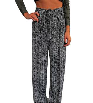 5TWO3 High-Waisted Palazzo Pants - Black/White