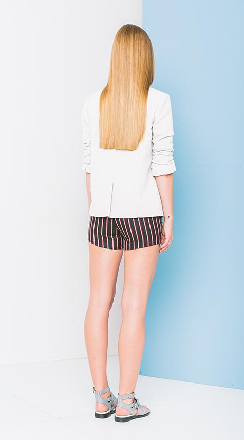 Obakki Cotton Blazer with Rouched Sleeves