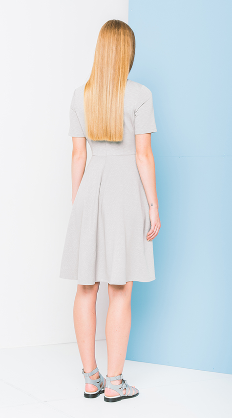 Obakki Variegated Knit Flare Dress