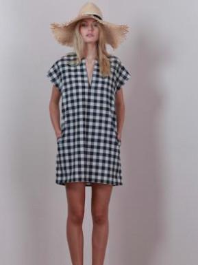 Lilya Alba Dress - Black/Cream Gingham Check