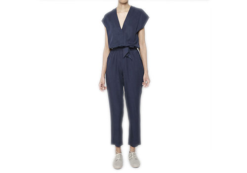7115 BY SZEKI V-NECK NAVY JUMPSUIT