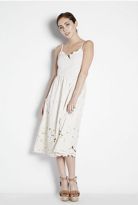 Miusigny by Miho Floral Applique Midi Dress
