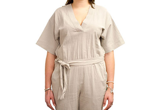 7115 BY SZEKI MID-SLEEVES JUMPSUIT - BEIGE